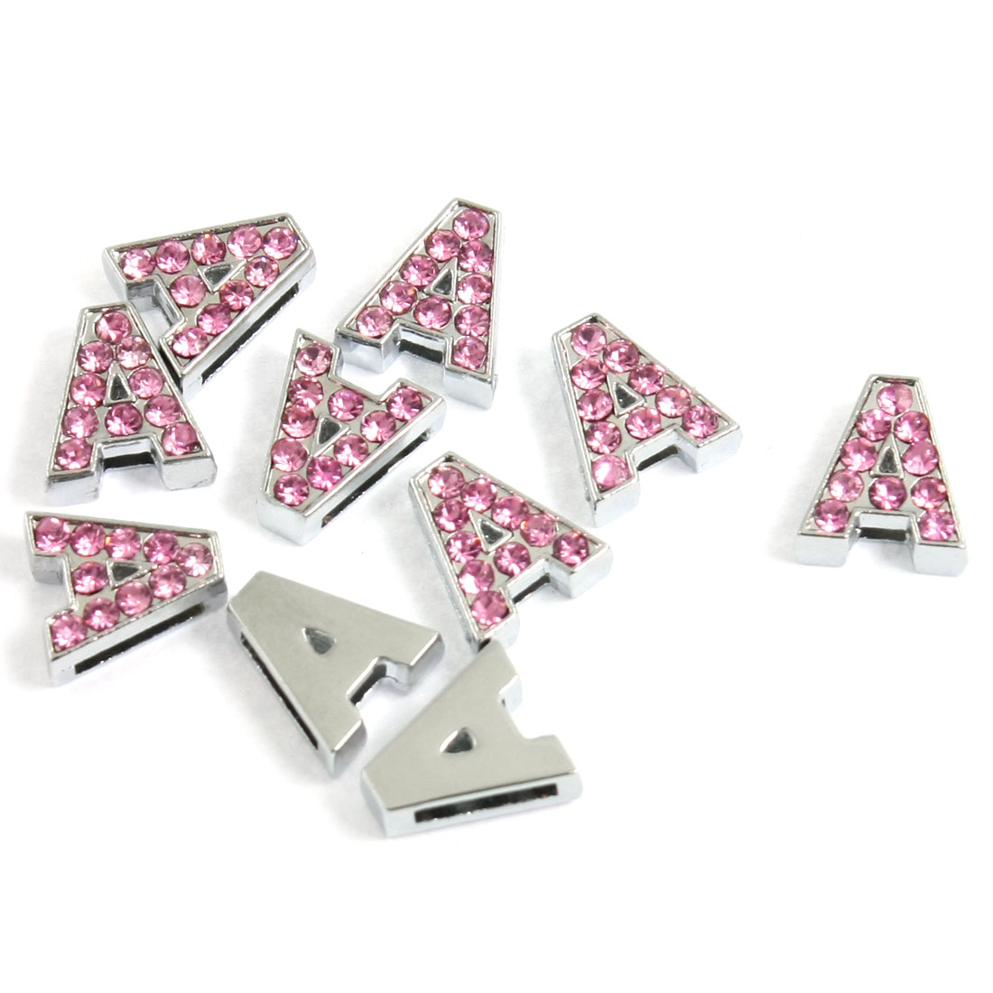 10 Pcs Pink Plastic Rhinestone Slide Letter A for Dog Cat Pets Collar Charm