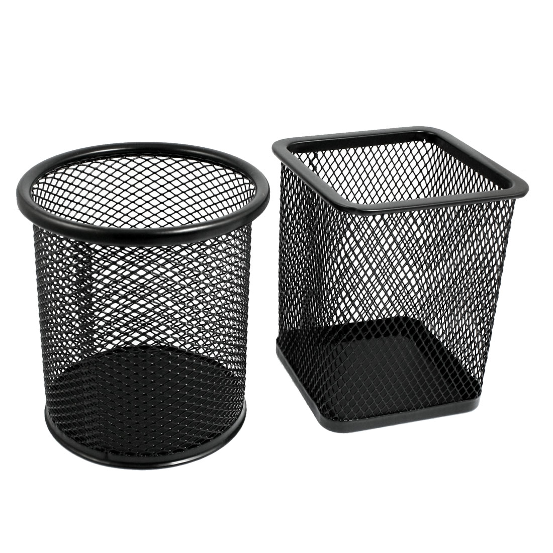 2 Pcs Mesh Rectangle Cylinder Stationery Holder Box Container Black