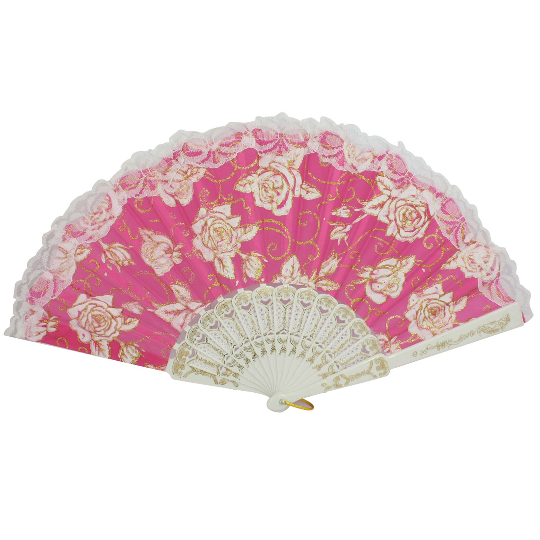 Magenta White Plastic Ribs Peony Pint Dance Foldable Hand Fan