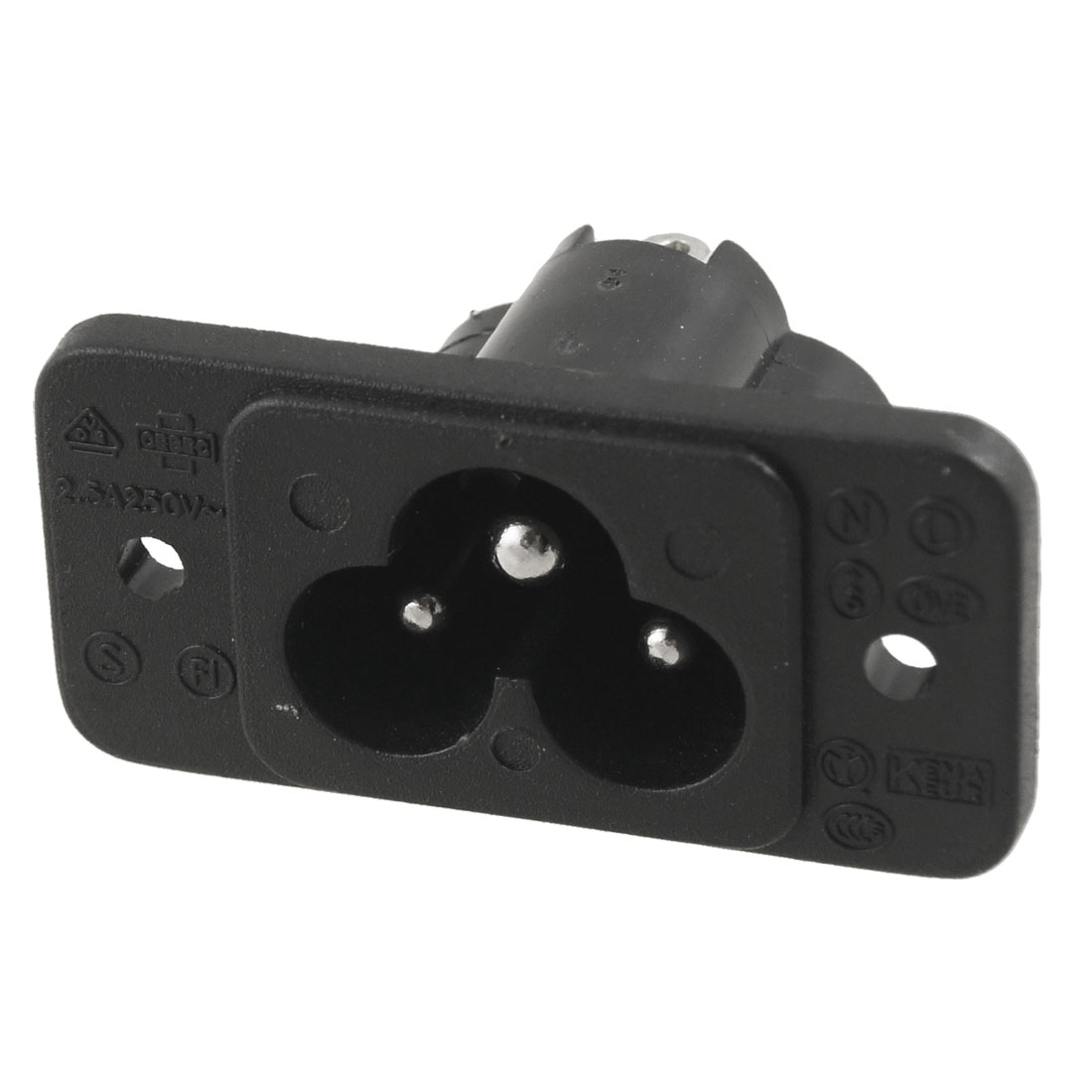 Black 3 Terminal IEC320 C6 Inlet Connector Power Socket AC 250V 2.5A