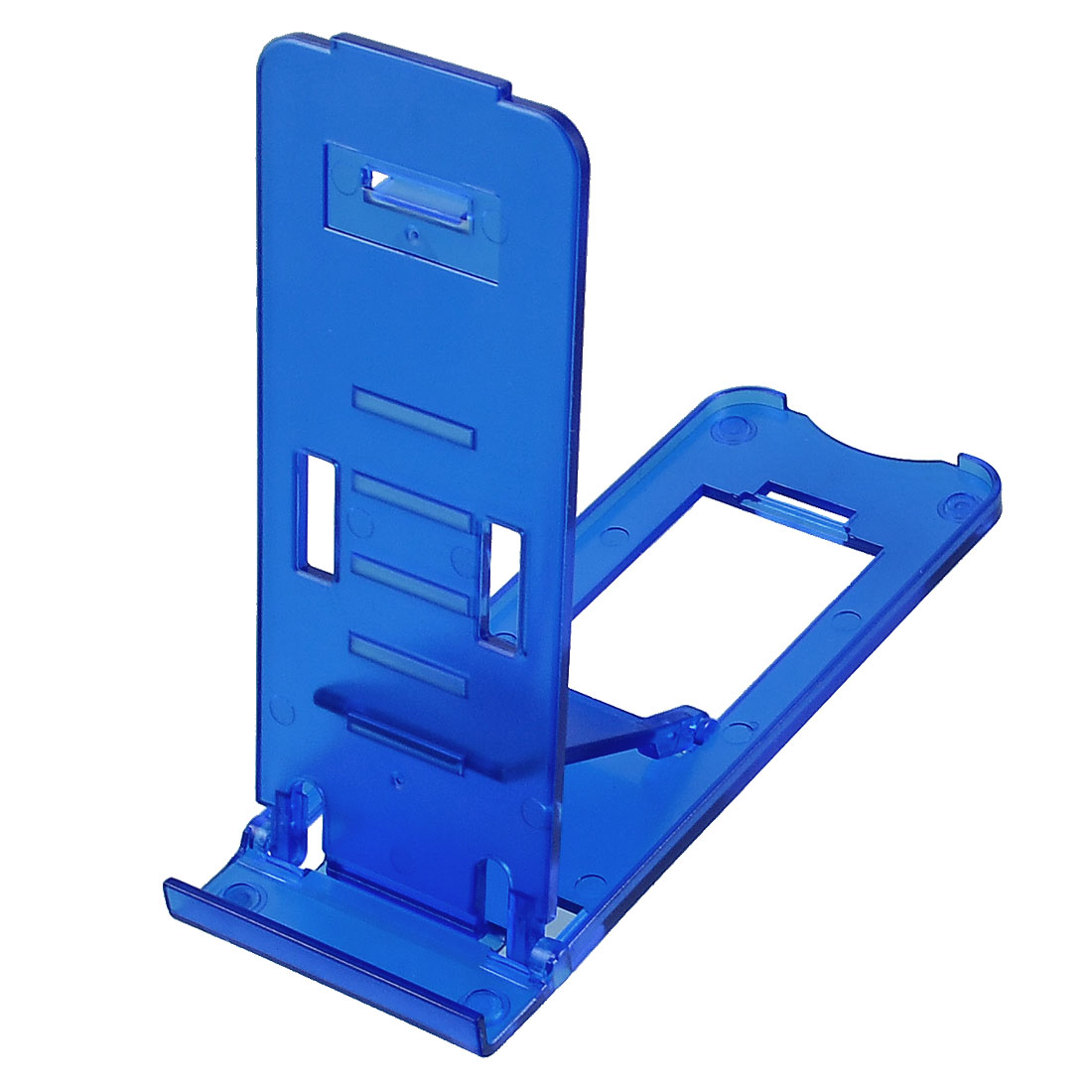 Desk Teal Blue Plastic Foldable Stand Bracket for Tablet PCs