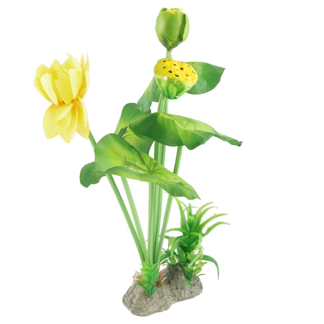 Aquarium Artificial Yellow Lotus Green Leaf Plants Ornament