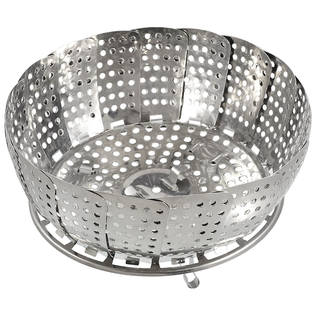Kitchen Folding Stainless Steel Mesh Holes Steam Basket Cooker