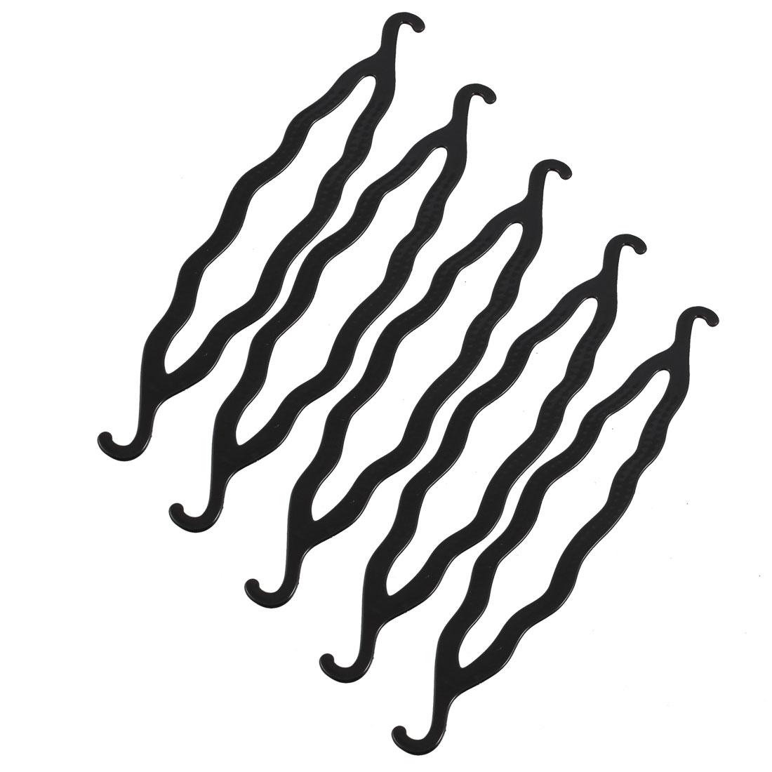 "5 Pcs Black Plastic Magic Bun Maker Curler Hair Holders 8.5"""