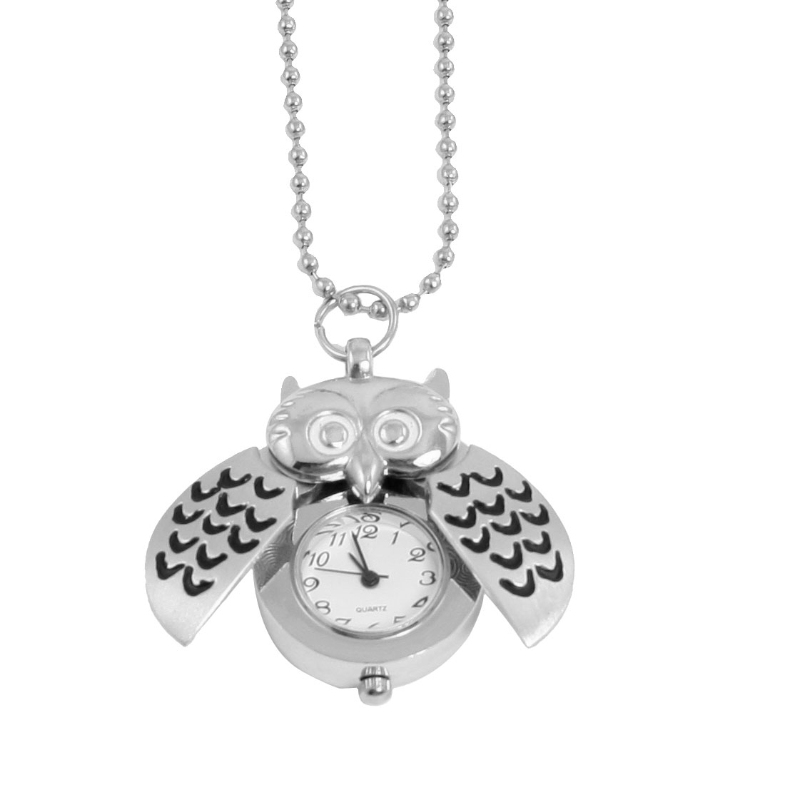 Black Silver Tone Owl Pendant Metal Necklace Quartz Watch for Ladies