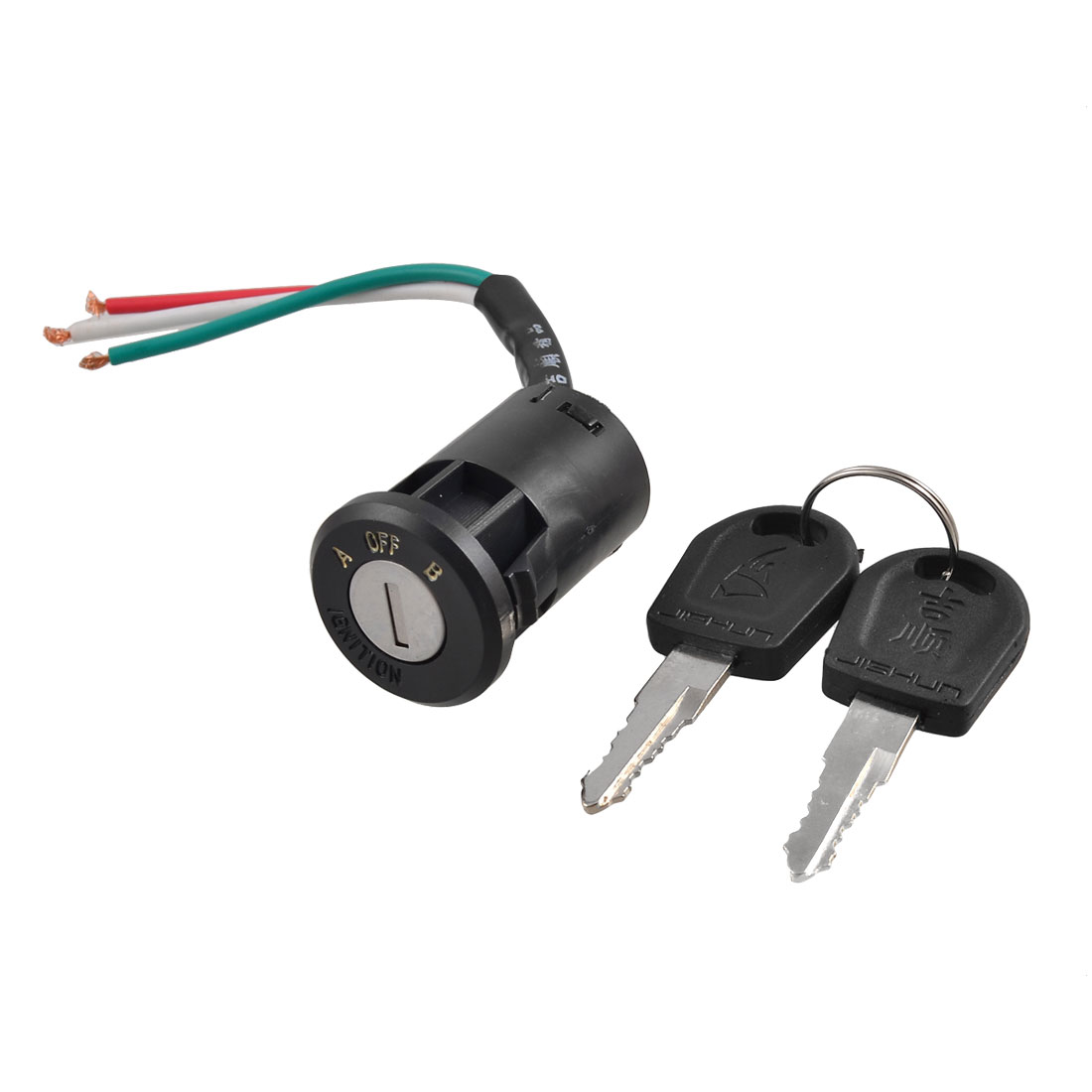 Electric Bike Ignition Switch Black Plastic Lock Keys Set 3 in 1