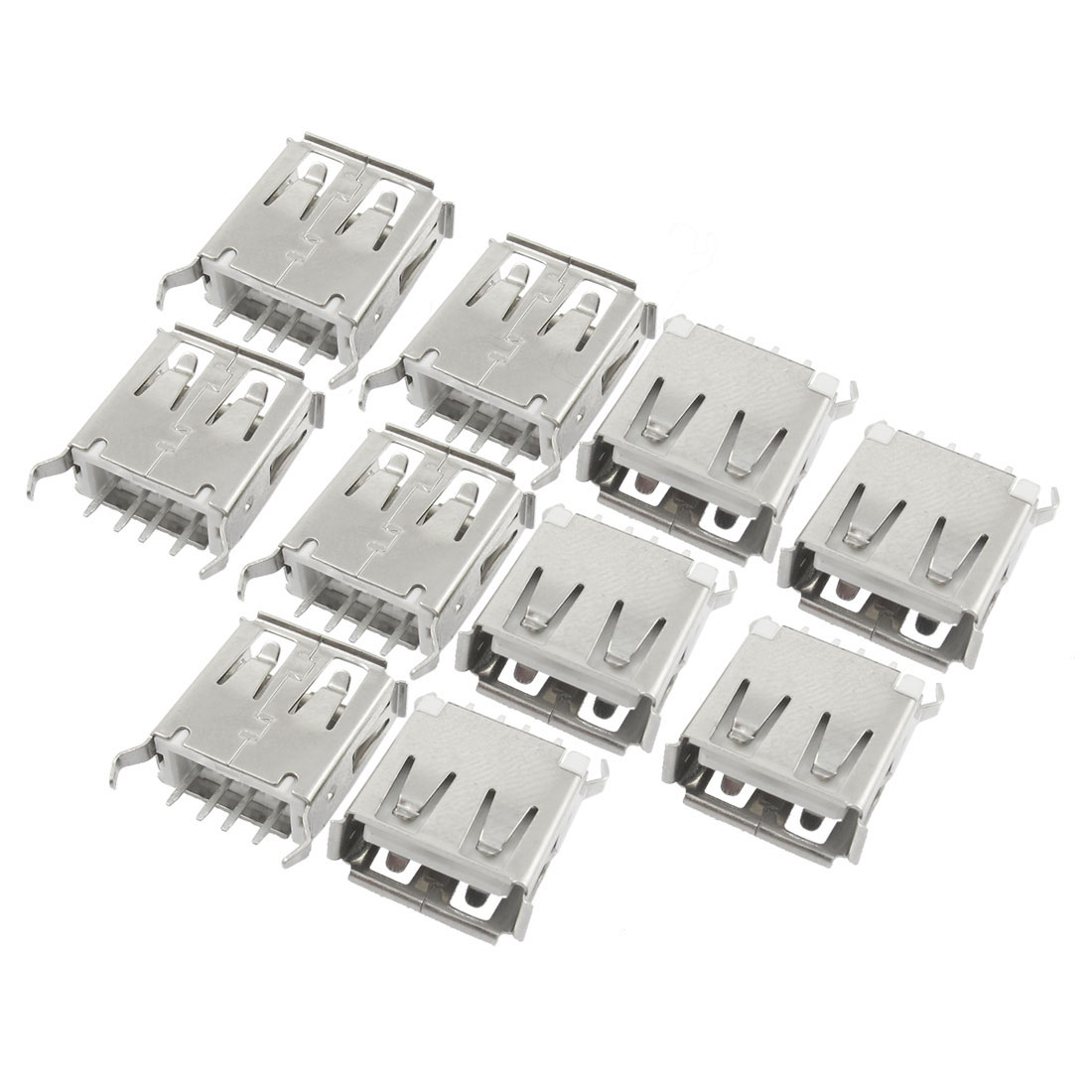 USB Type A Female Jack 180 Degree Crooked Leg PCB Socket Connector 10 pcs