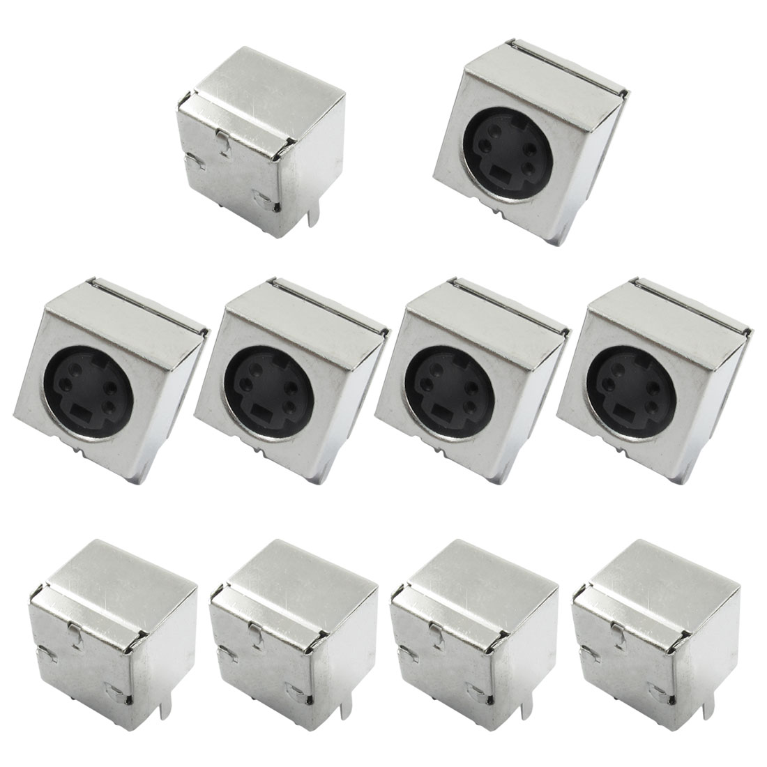 10 Pcs Power DIN 4 Pin Right Angle Board Jack Connector