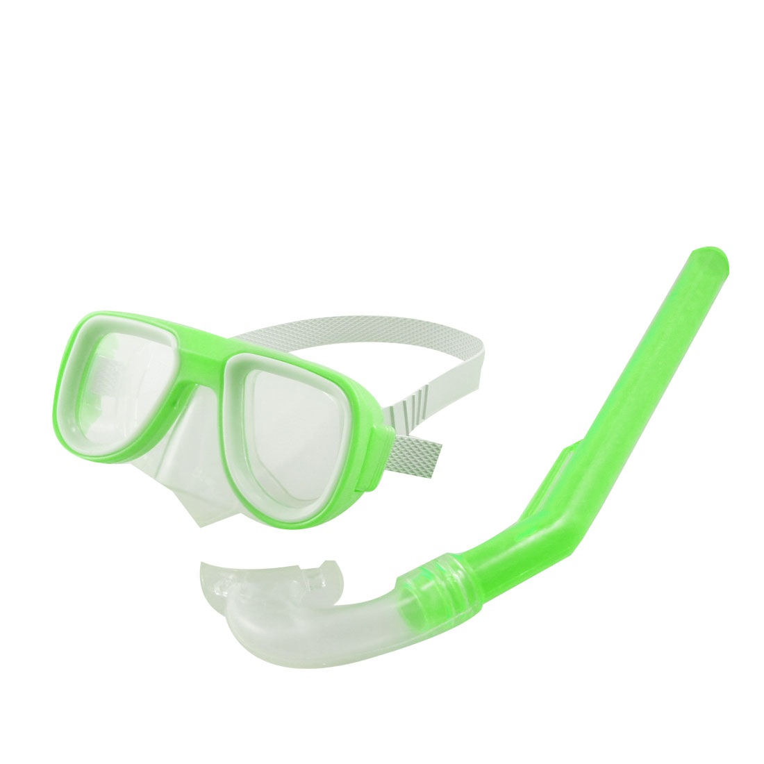 Lime Green Frame White Head Strap Swimming Goggles Mask Snorkel Set
