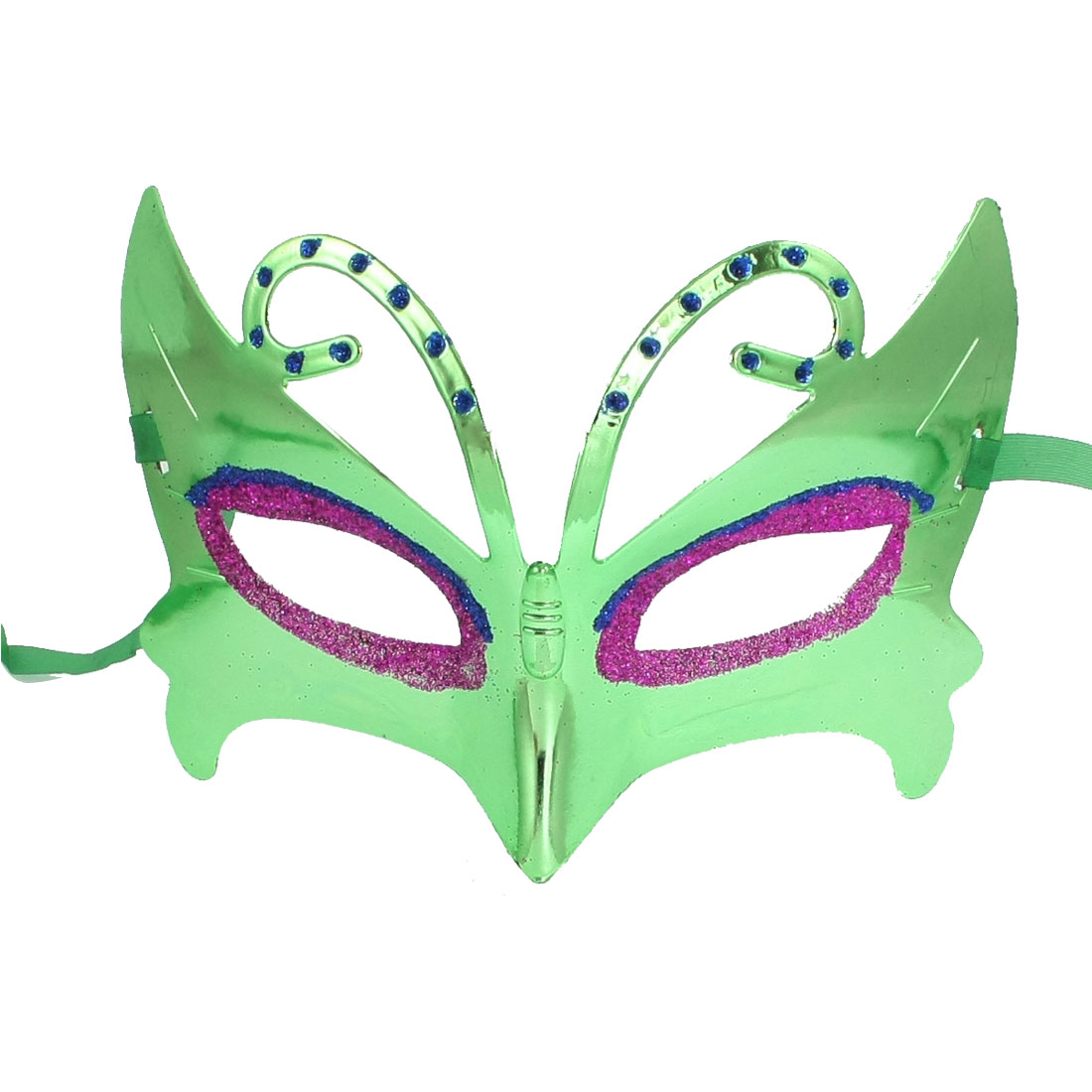 Women Glittery Fuchsia Blue Powder Accent Cosplay Party Eye Mask Green