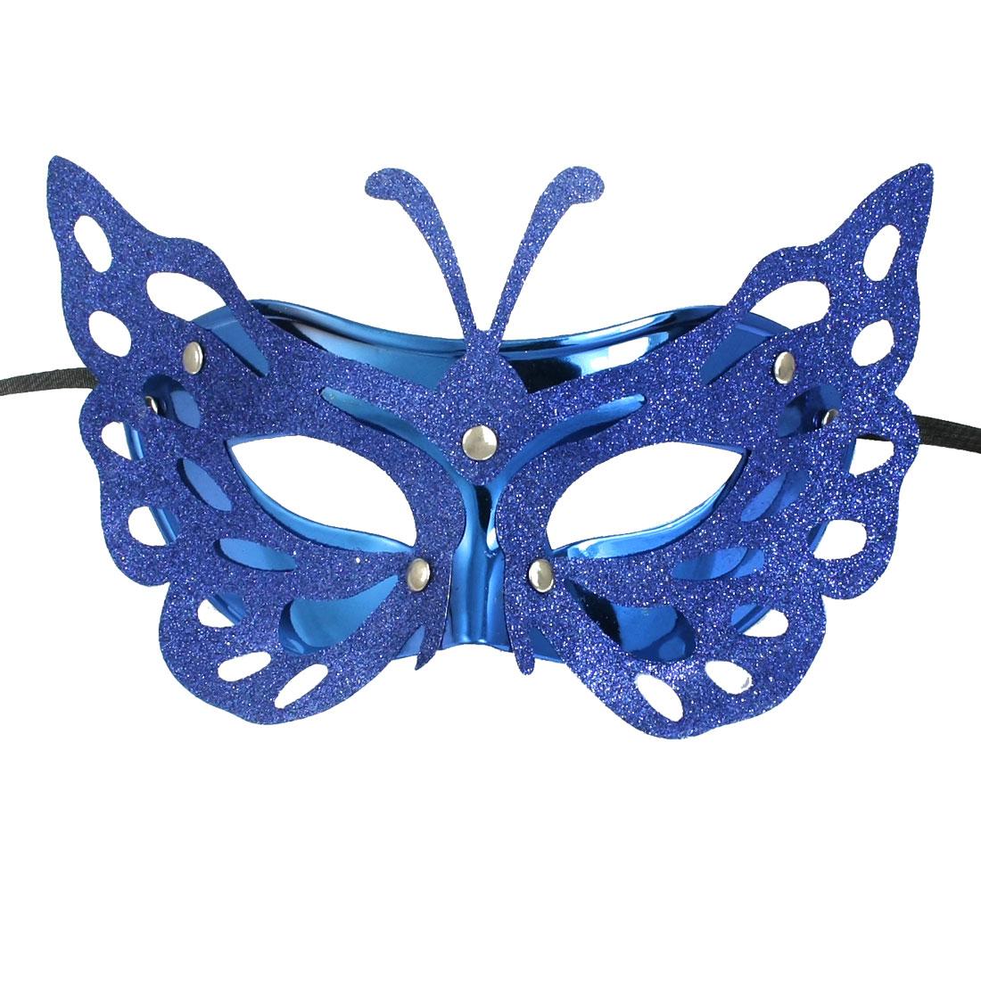Woman Glittery Powder Decor Self Tie Ribbon Fancy Party Mask Blue