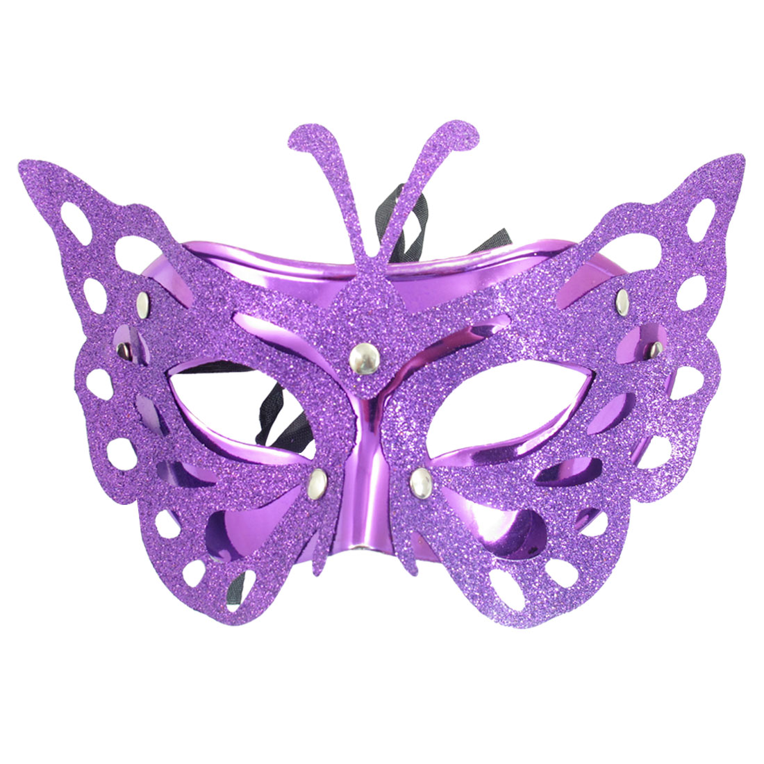 Ladies Halloween Party Plastic Glitter Powder Covered Eye Mask Purple