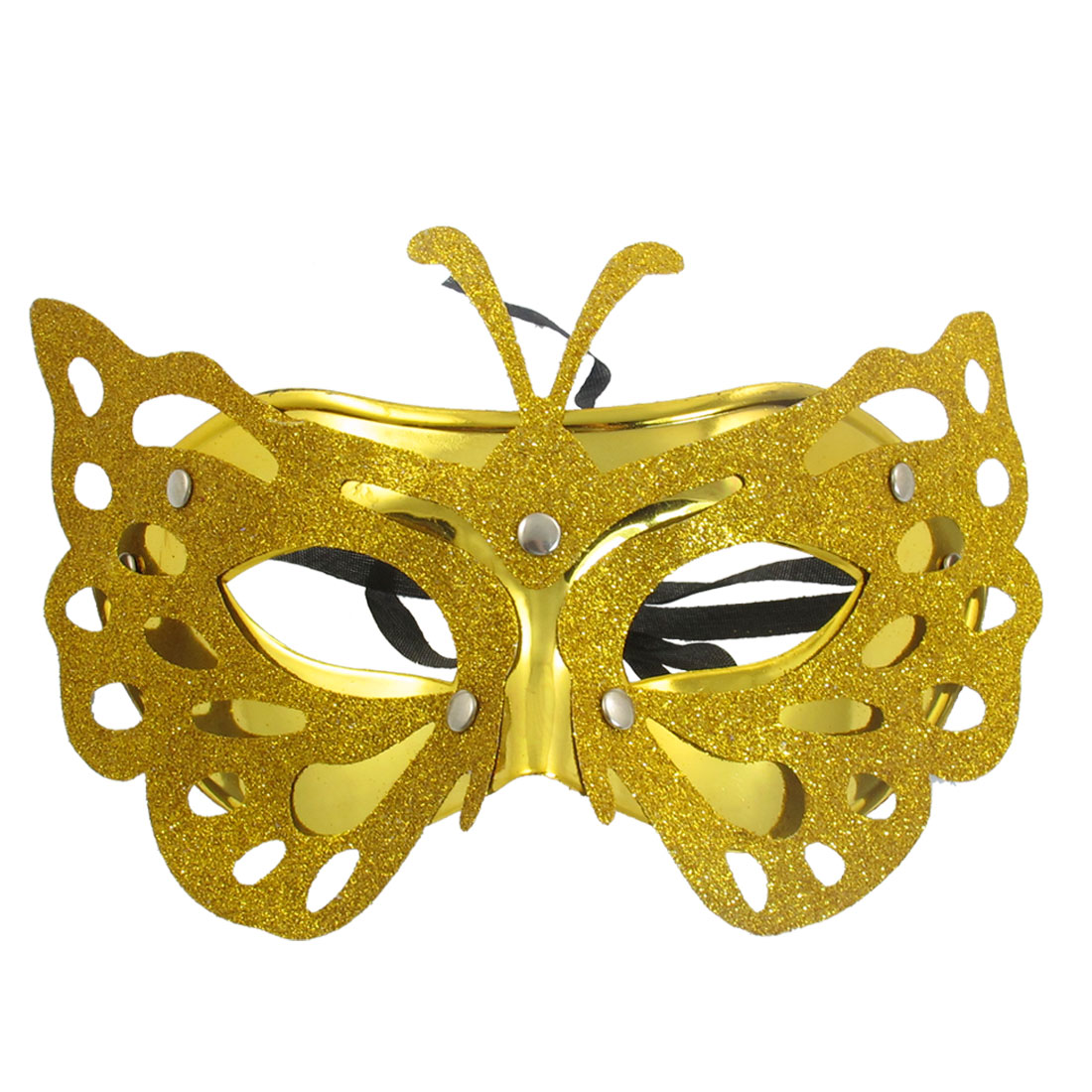 Lady Self Tie Ribbon Gold Tone Plastic Half Face Mask