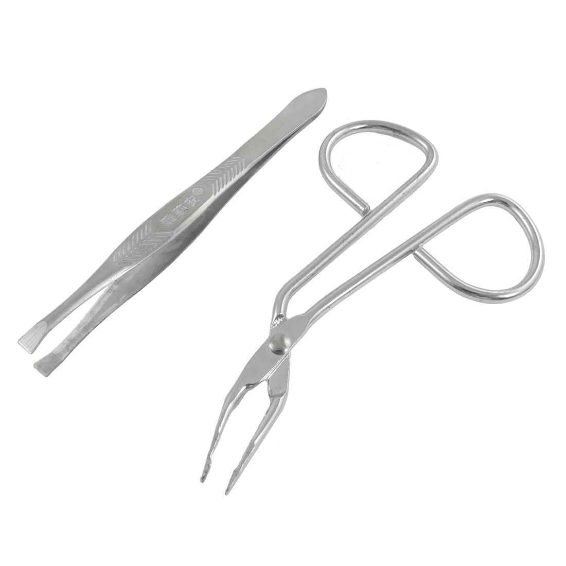 2 in 1 Set Eyebrow Scissors Flat Tip Tweezers Silver Tone