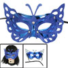 Woman Glittery Powder Decor Self Tie Ribbon Fancy Party Mask Blue