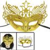 Shiny Powder Accent Mardi Gras Costume Ball Party Eye Mask Gold Tone