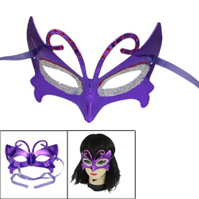 Masquerade Fancy Party Red Silver Tone Powder Detail Eye Mask Purple
