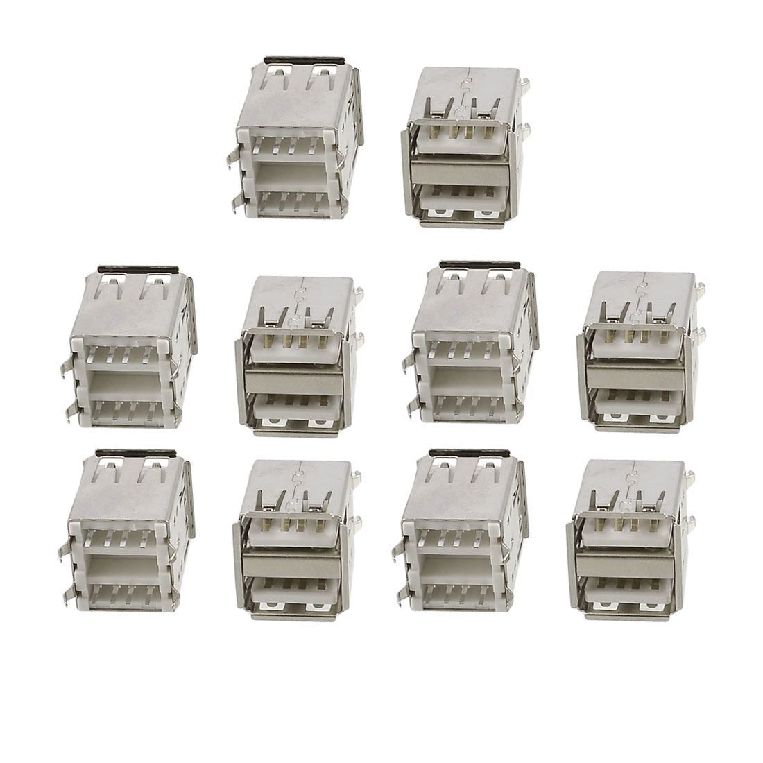 10 x Double Layer USB A Female Jack Solder Connectors