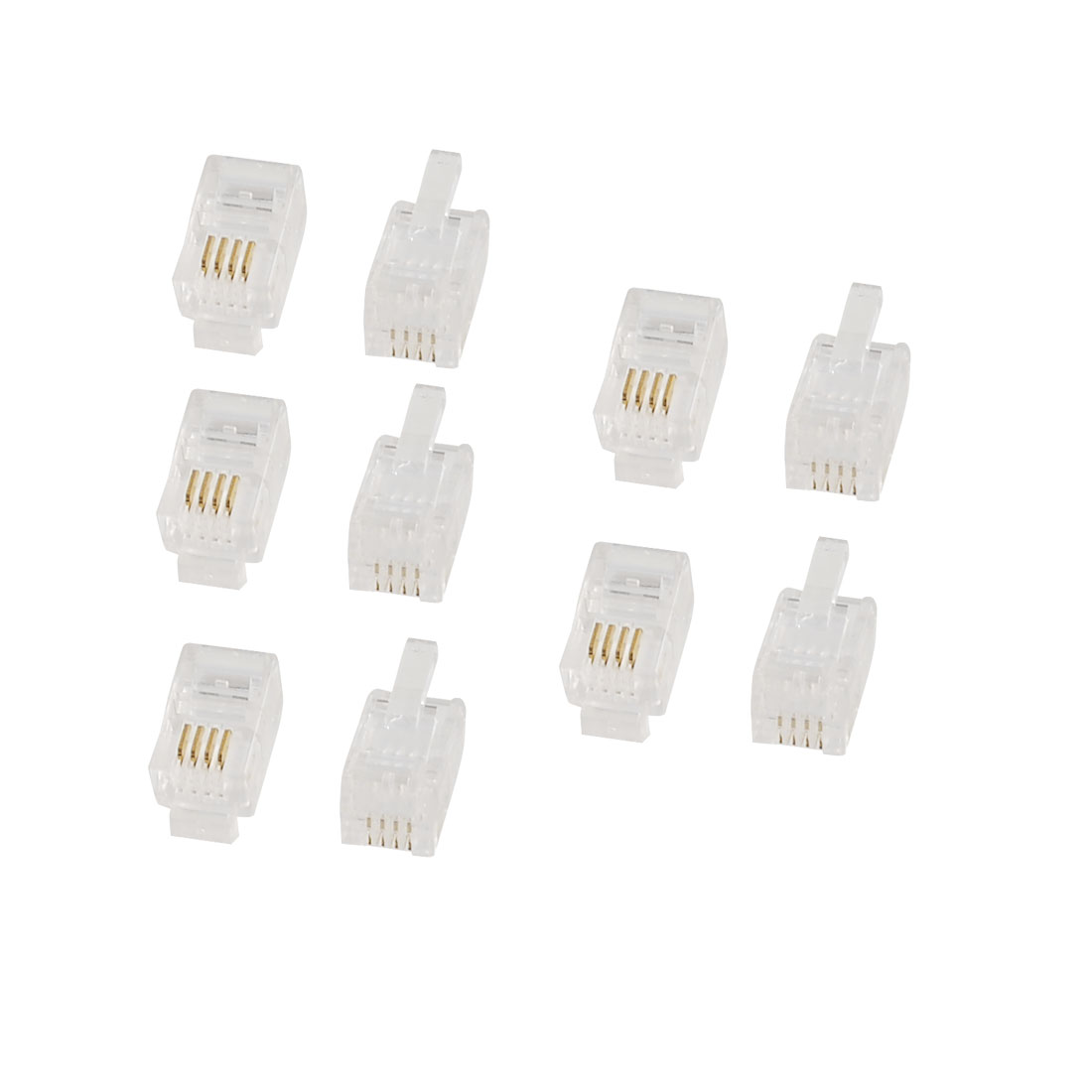 10 Pcs 4P4C RJ11 Plug Jack Connector Clear for Telephone Cable
