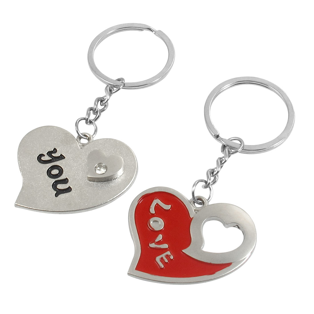 Couple Lovers Magnetic Heart Pendant Silver Tone Metal Key Chain Ring
