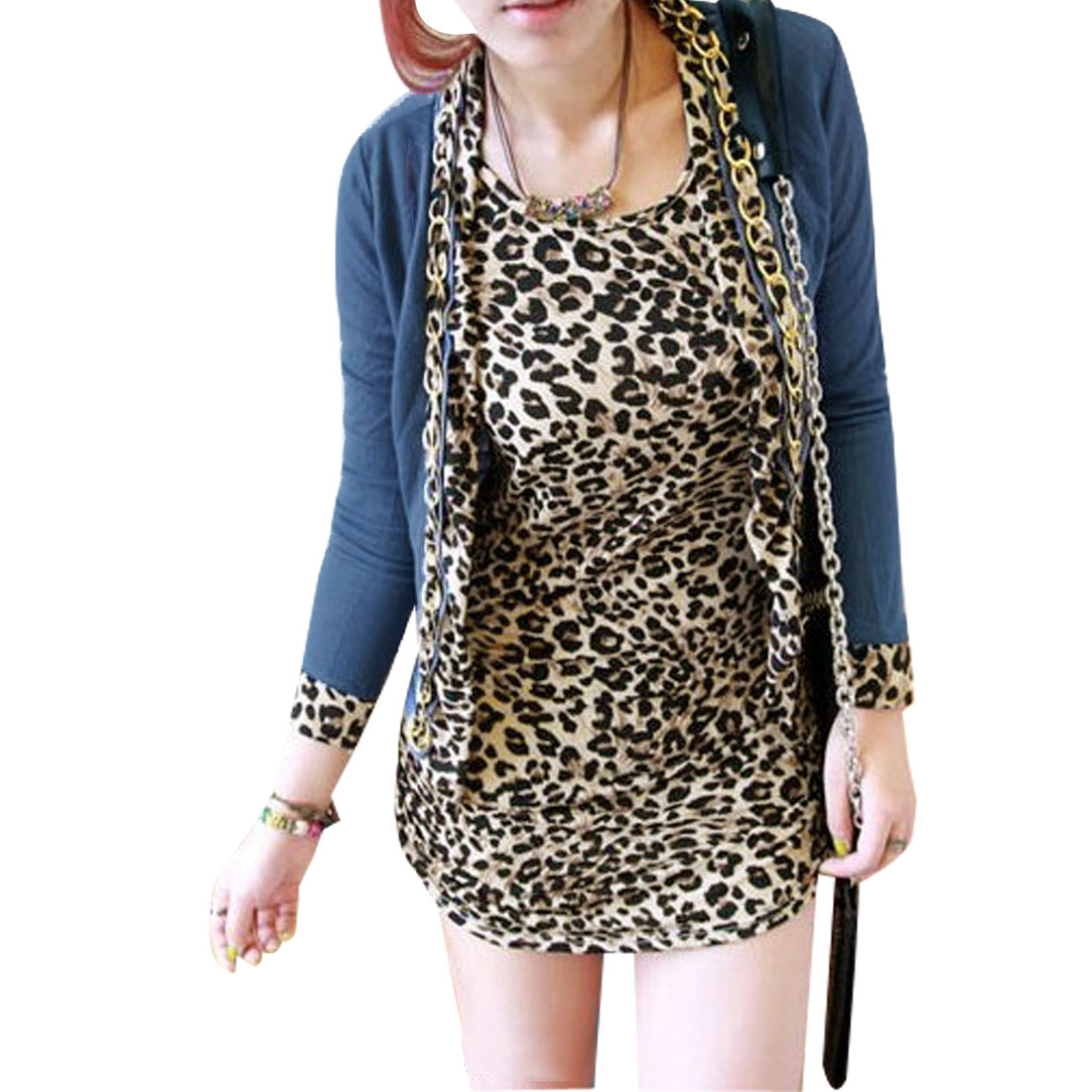 Ladies Steel Blue Metal Chain Decor Stretchy Knitted Coat w Beige Black Leopard Prints Tank Top XS