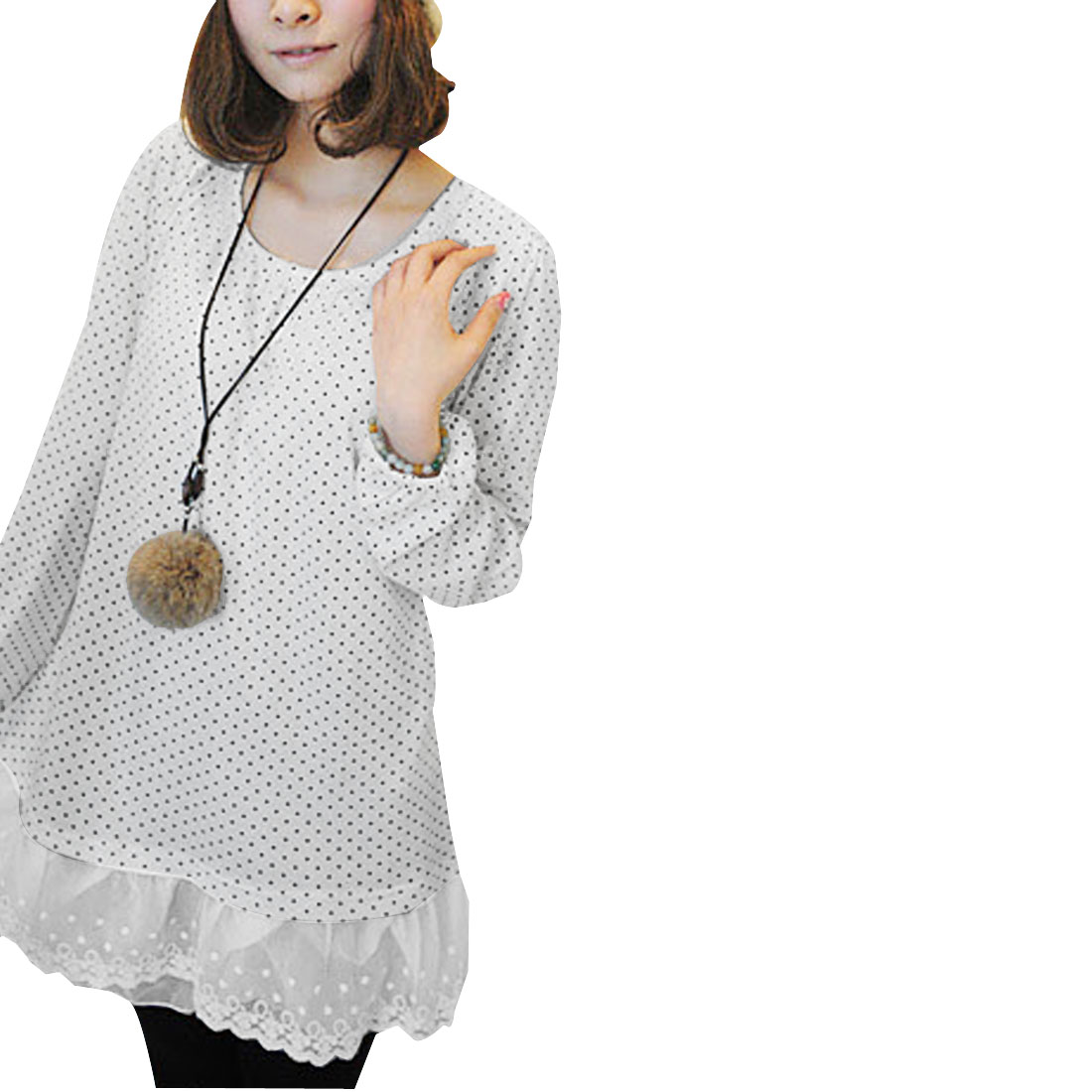 Lady White Black Long Sleeve Dots Lace Panel Layered Hem Elastic Cuff Tunic Shirt XS