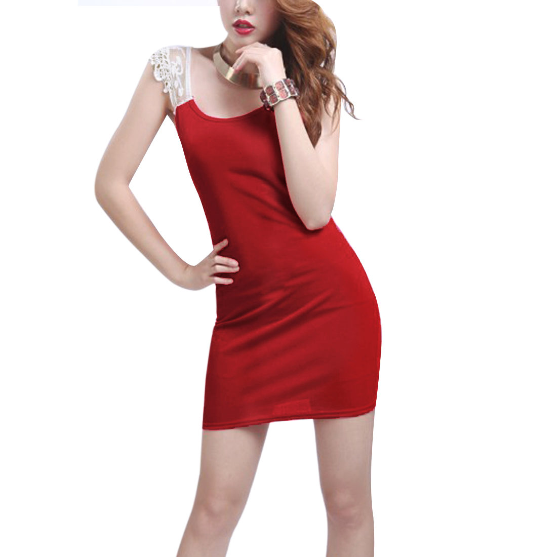 Woman Red Lace Upper Stretchy Close-fitting Straight Summer Patchwork Dress XS