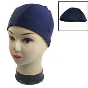 Woman Men Navy Blue Sport Polyester Elastic Fiber Swimming Swim Hat Cap