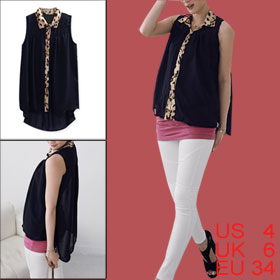 Ladies Dark Blue Button Closure Leopard Prints High Low Hem Casual Chiffon Shirt S