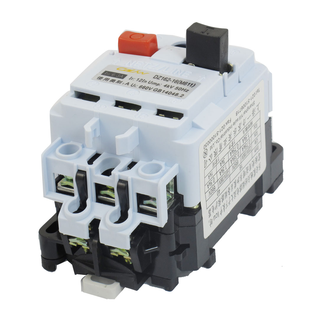 DZ162-16 AC 660V 4A-6.3A Adjustable 3 Pole DIN Rail Switch Circuit Breaker