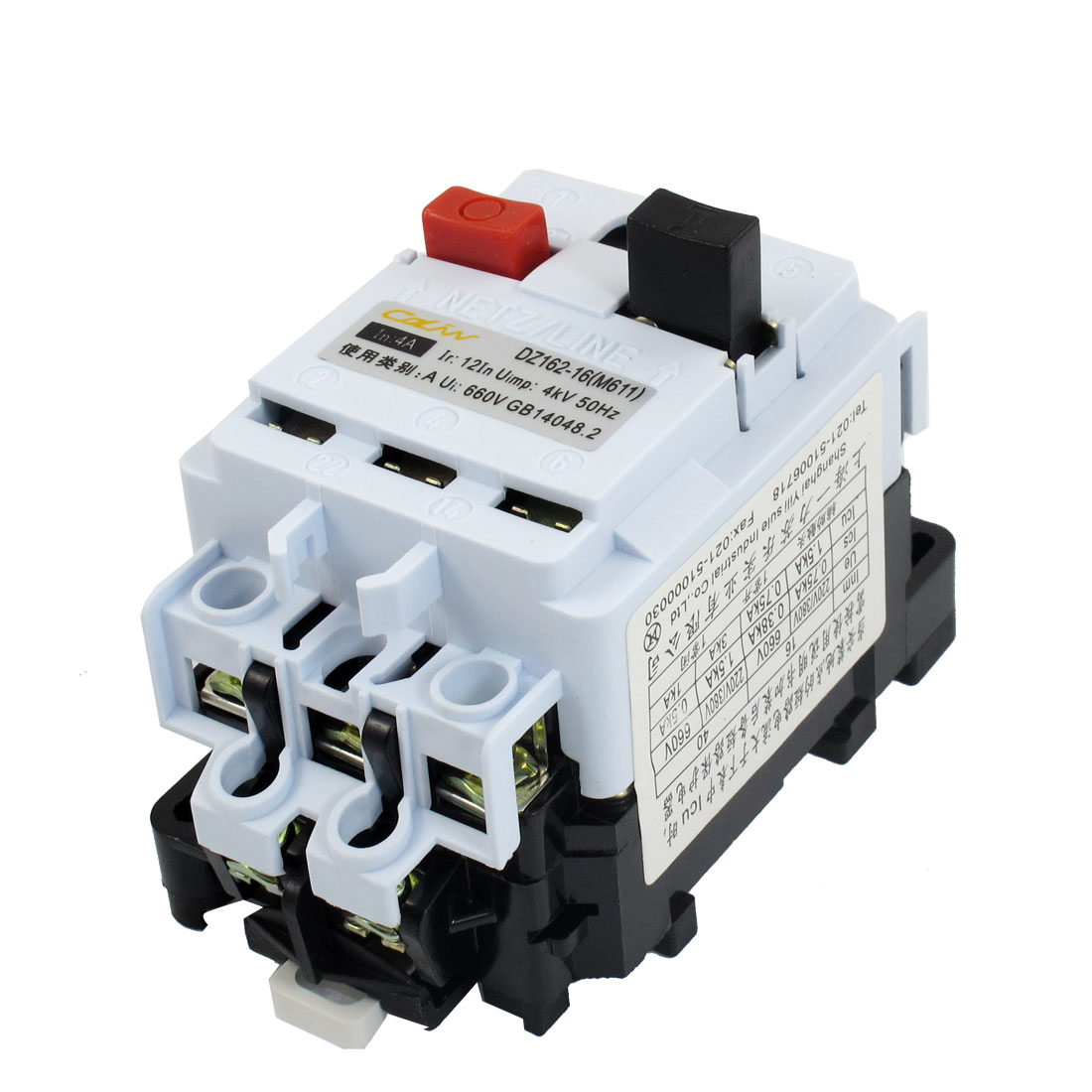 DZ162-16 AC 660V 4A 3P DIN Rail Mount Motor Protection Circuit Breaker