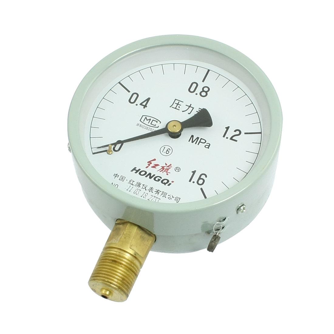 "Horizontal Mount 1/2"" Thread Water Air Pressure Gauge 0-1.6 MPa"