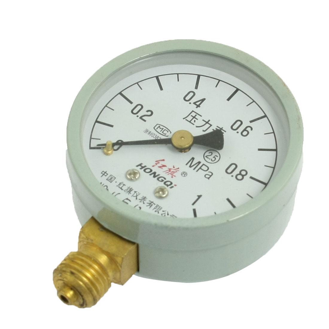 "1/4"" Male Thread Horizontal Pneumatic Pressure Gauge 0-1.0 MPa"