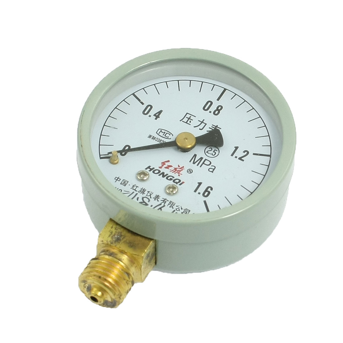"Class 2.5 0-1.6Mpa Horizontal Air Pressure Gauge 1/4"" Thread"