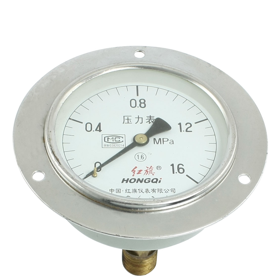 "0-1.6Mpa 1/2"" Male Thread Vertical Pneumatic Pressure Gauge 5"""