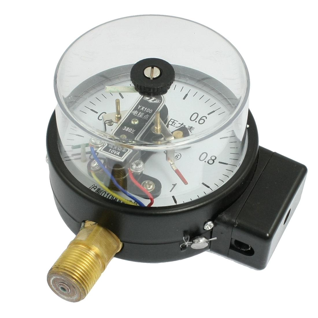 "1/2"" Threaded Black Electric Contact Pressure Gauge 0-1.0MPa AC 380V 10VA"