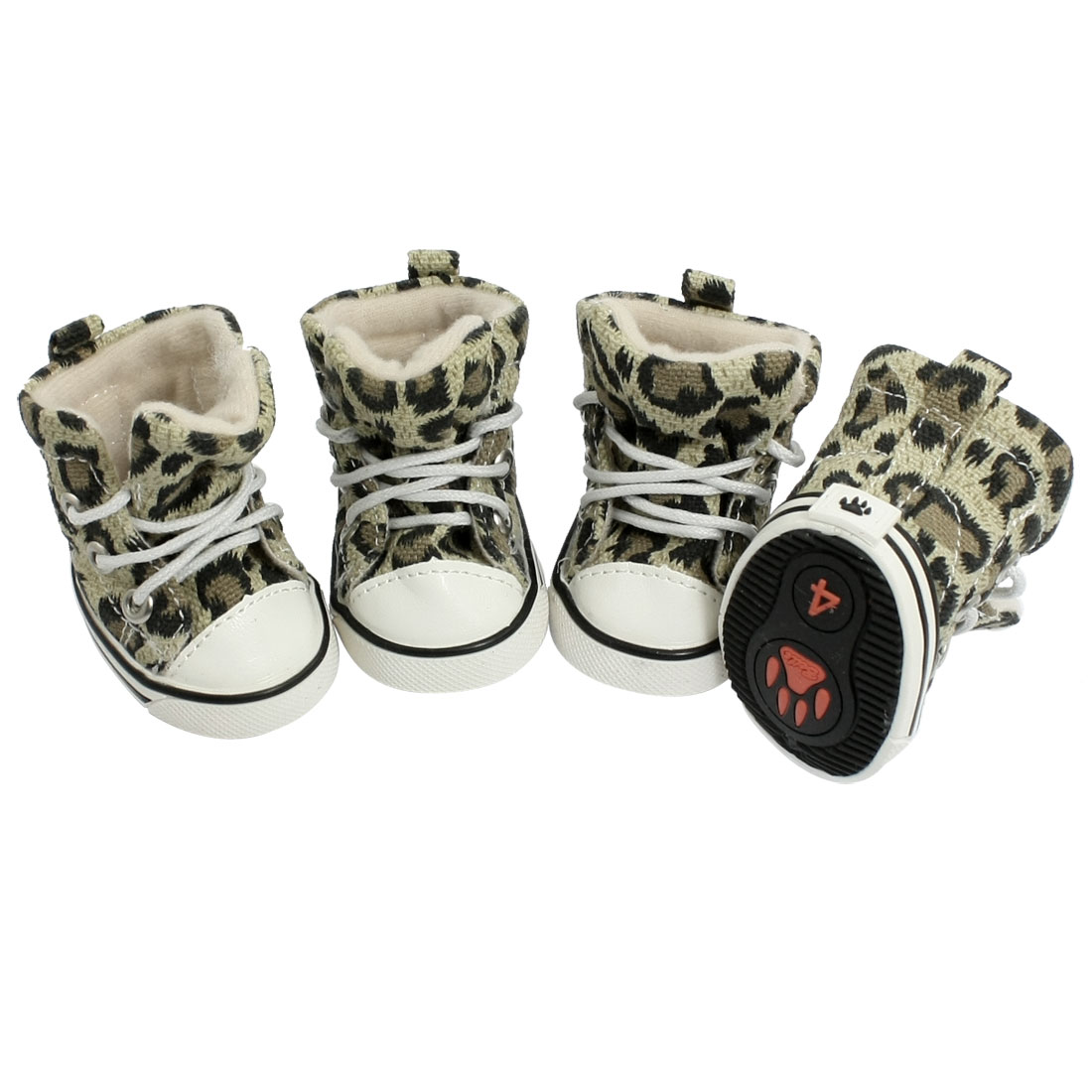 4 Pcs Size 4 Leopard Print Cozy Pet Dog Boots Booties Puppy Shoes