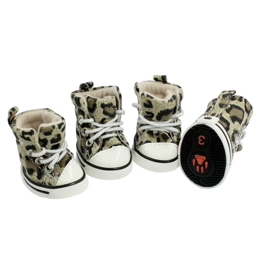 Puppy Pet Dog Booties Leopard Sports Sneakers Shoes Size 3 4 Pcs