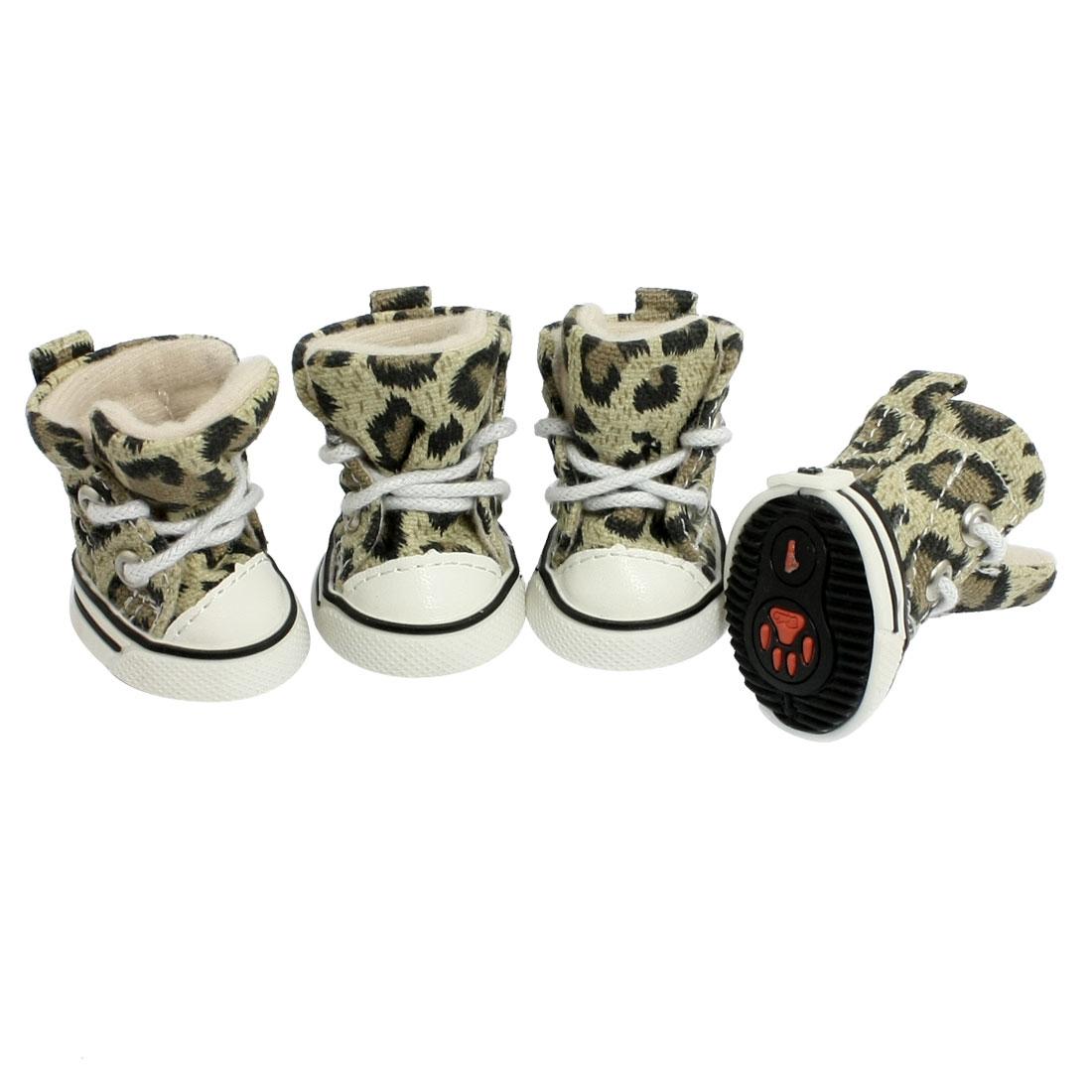 4 Pcs Antislip Sole Leopard Shoes Puppy Pet Dog Booties Boots Sz 1