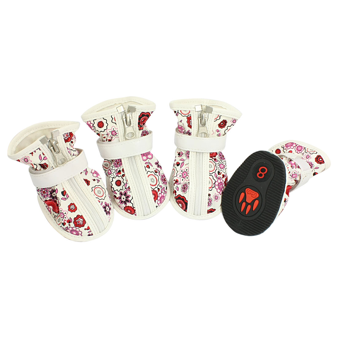 2 Pairs Red Flower Printed Zippered White Faux Leather Dog Shoes Boots Size 8