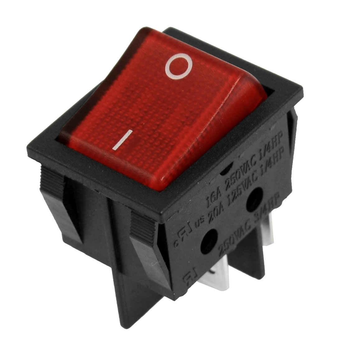 Red Button 4 Pins DPST On/Off Neon Light Rocker Switch AC 250V/15A