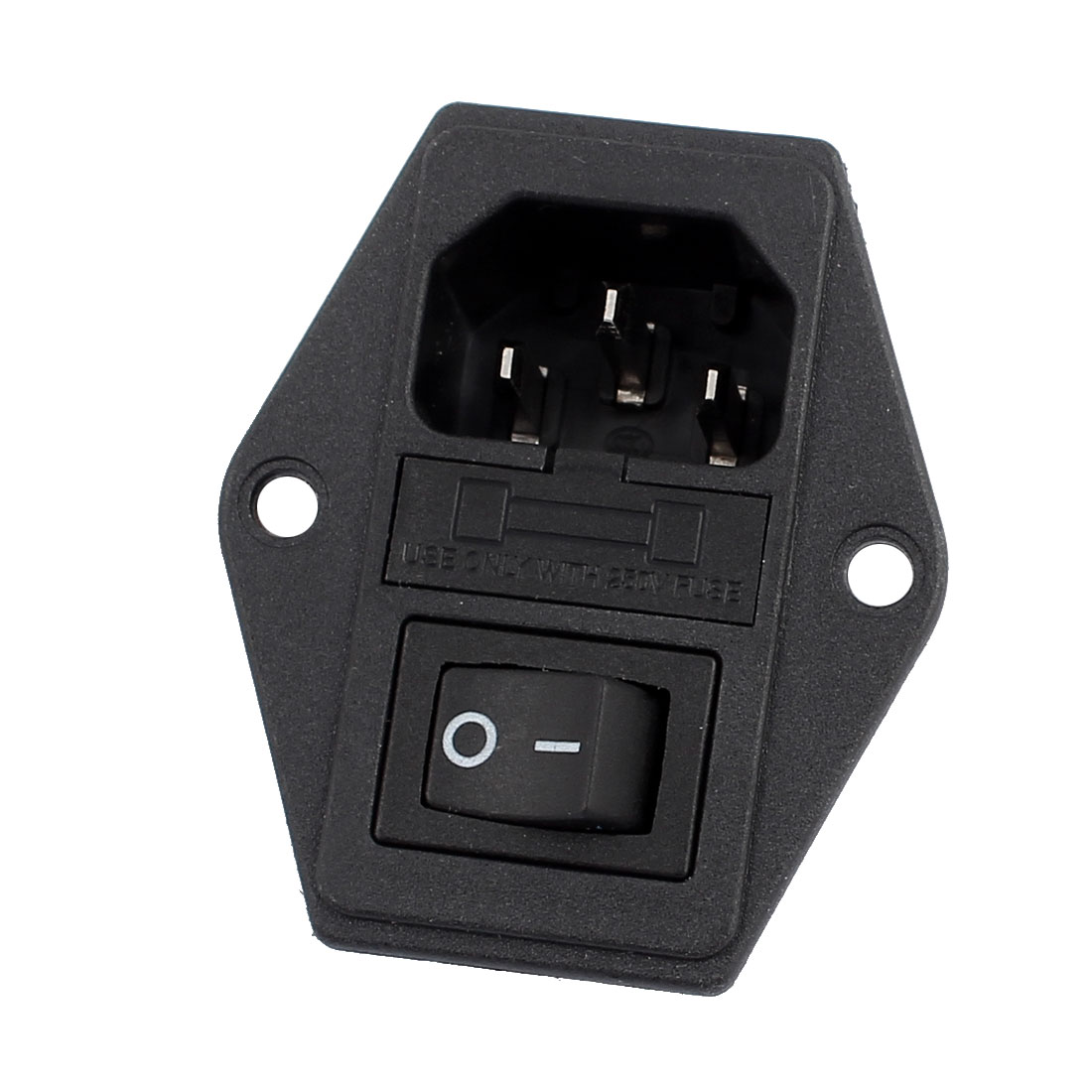 AC 250V 10A 3 Terminals Rocker Switch C14 Inlet Male Power Plug