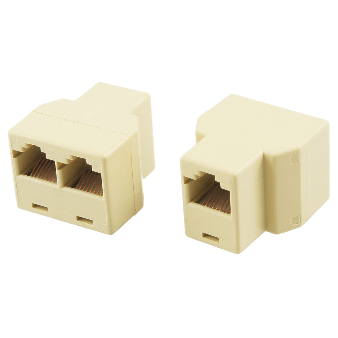 2 Pcs Khaki 3 Way RJ45 LAN Network Ethernet Splitter Connector