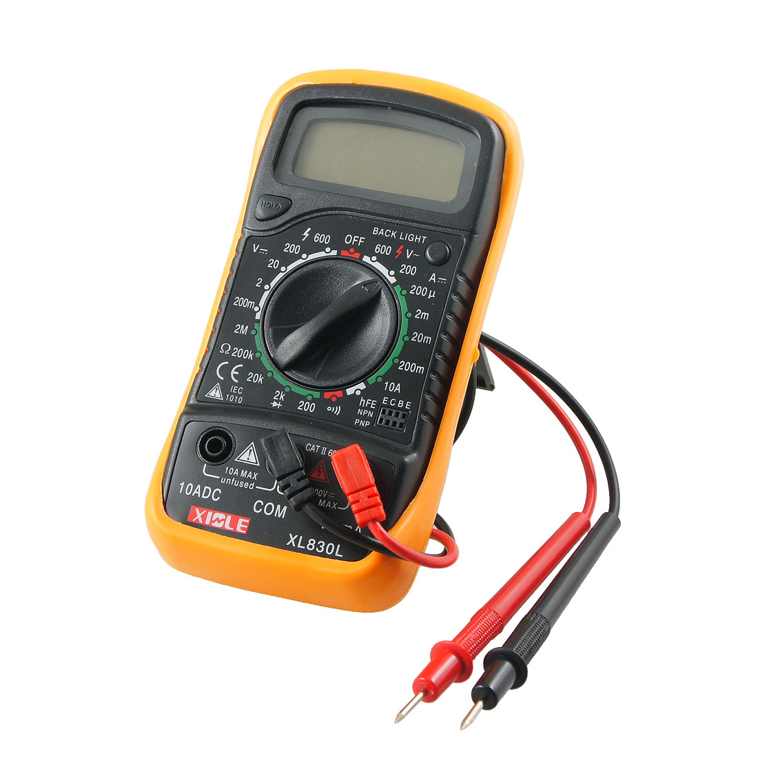 Black Yellow MAS830L Volt Ampere Ohm Meter Digital Multimeter w 2 Cables