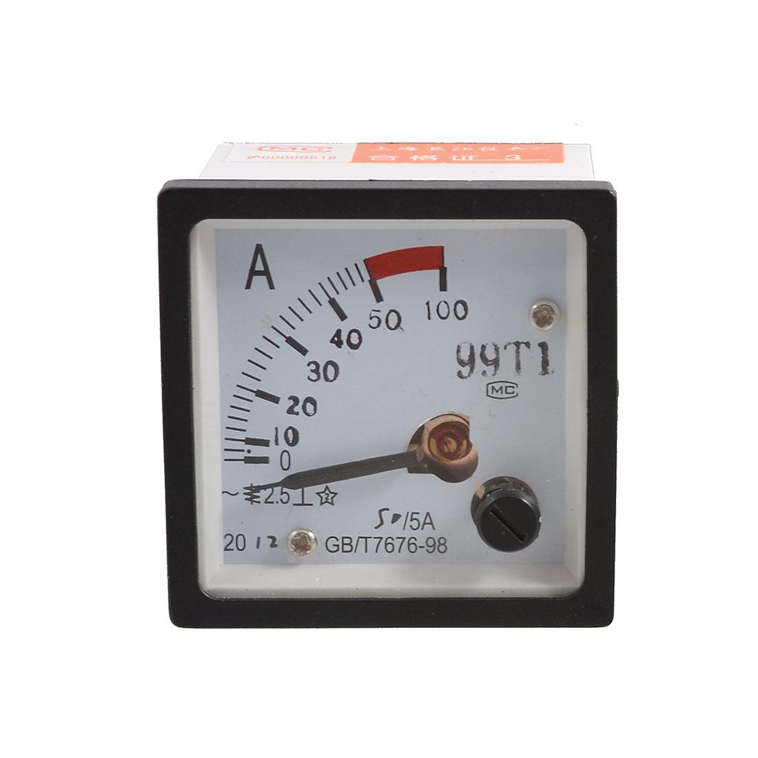 99T1 DC 0-50A 50/5 Amperemeter Analog Ammeter Panel Meter