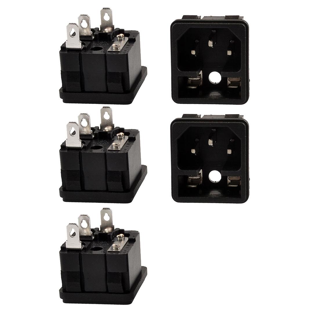 5 Pcs Fuse Holder IEC 320 C14 Inlet AC Power Entry Socket 10A 250V