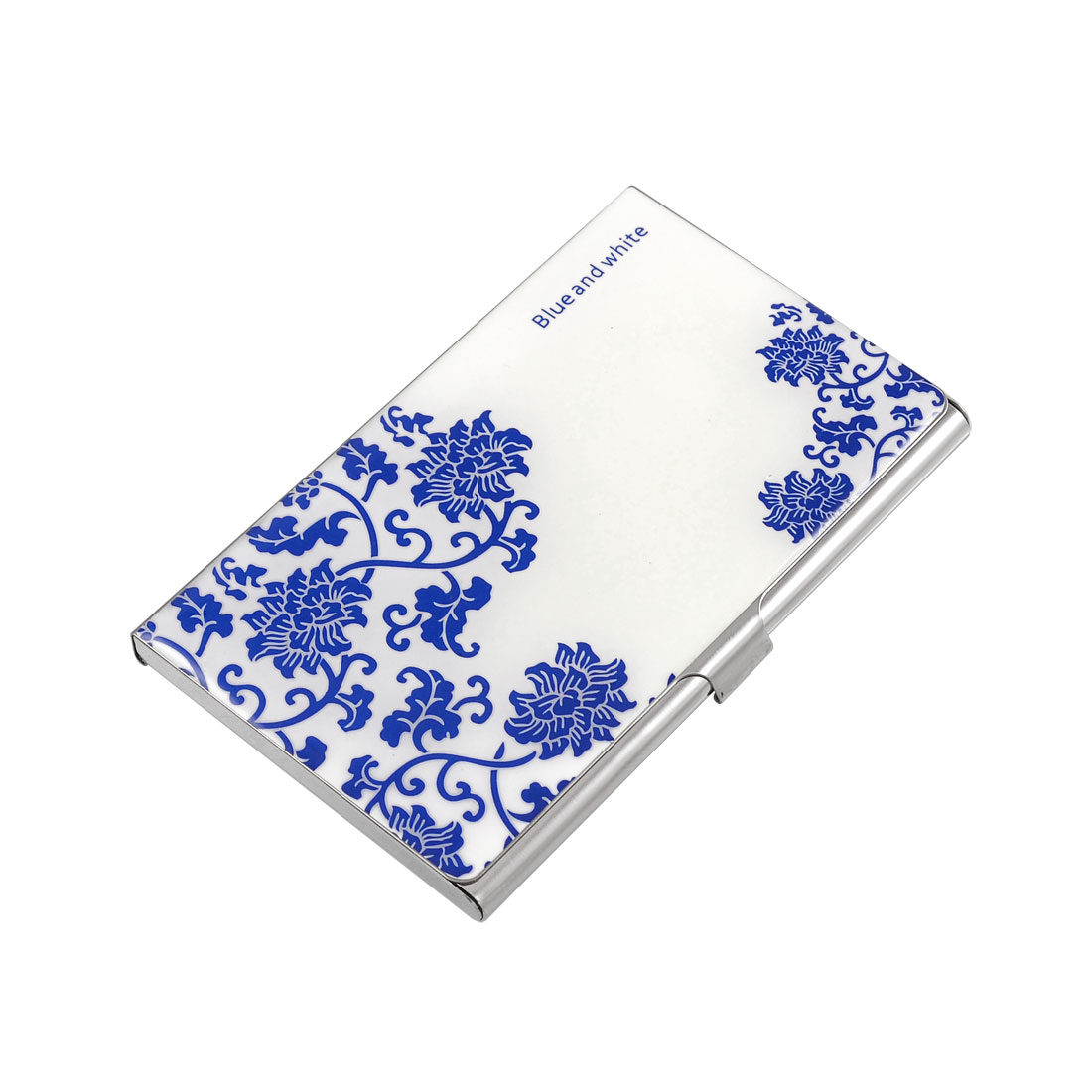 Blue and White Porcelain Pattern Horizontal Credit Bank Cards Holder Box