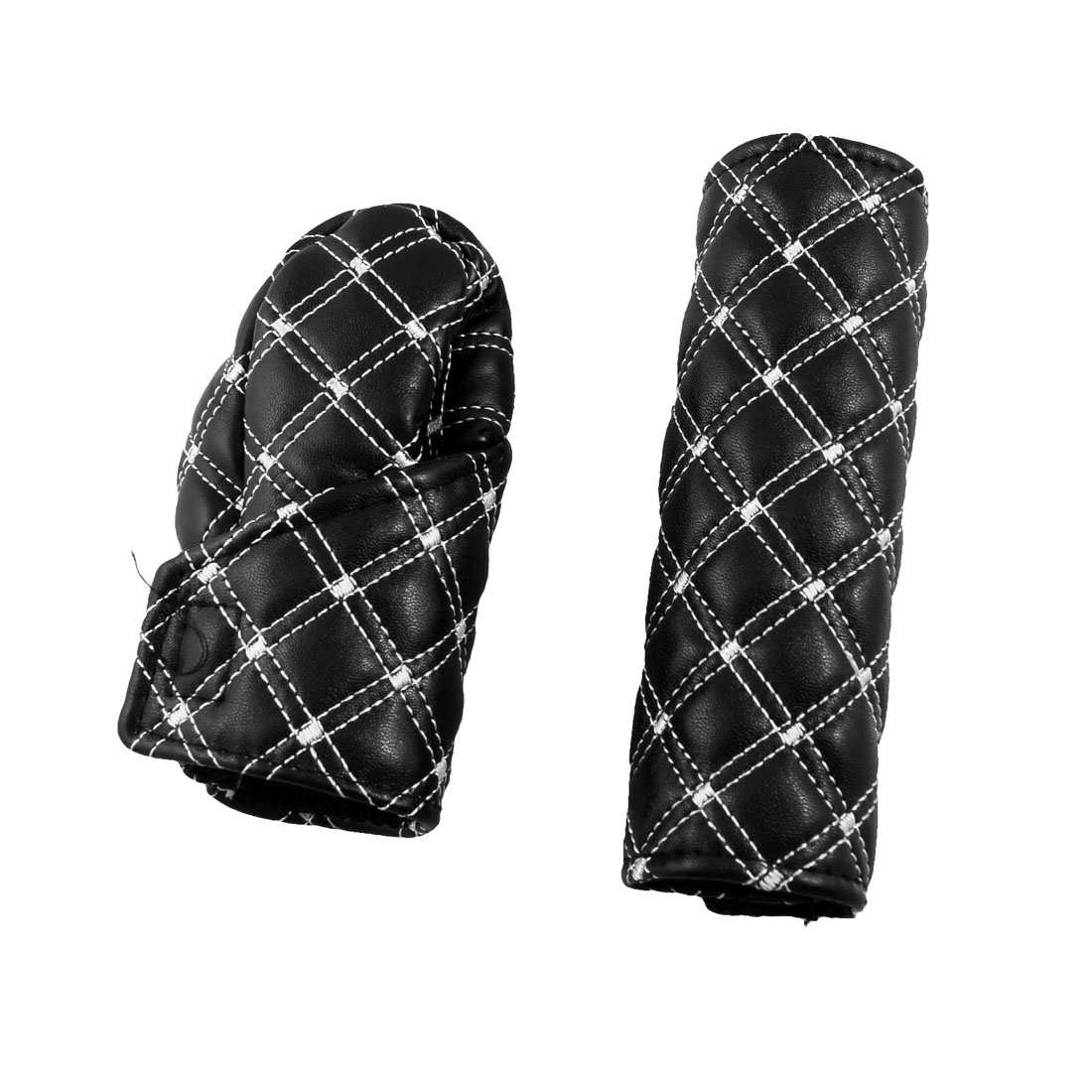 2 in 1 Car Faux Leather Gear Knob Hand Brake Cover Kit Black
