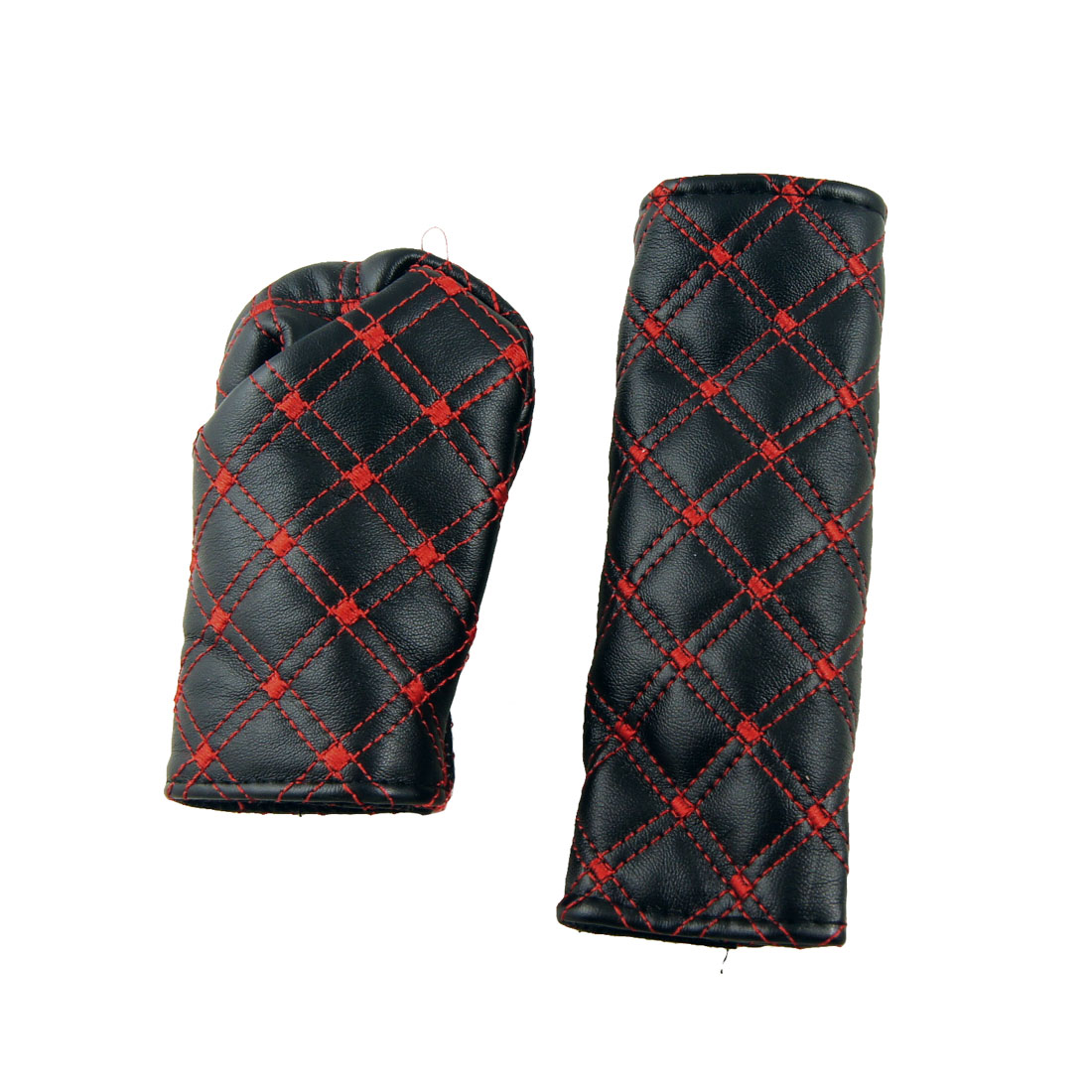 2 in 1 Universal Faux Leather Gear Knob Hand Brake Cover Kit Red Black