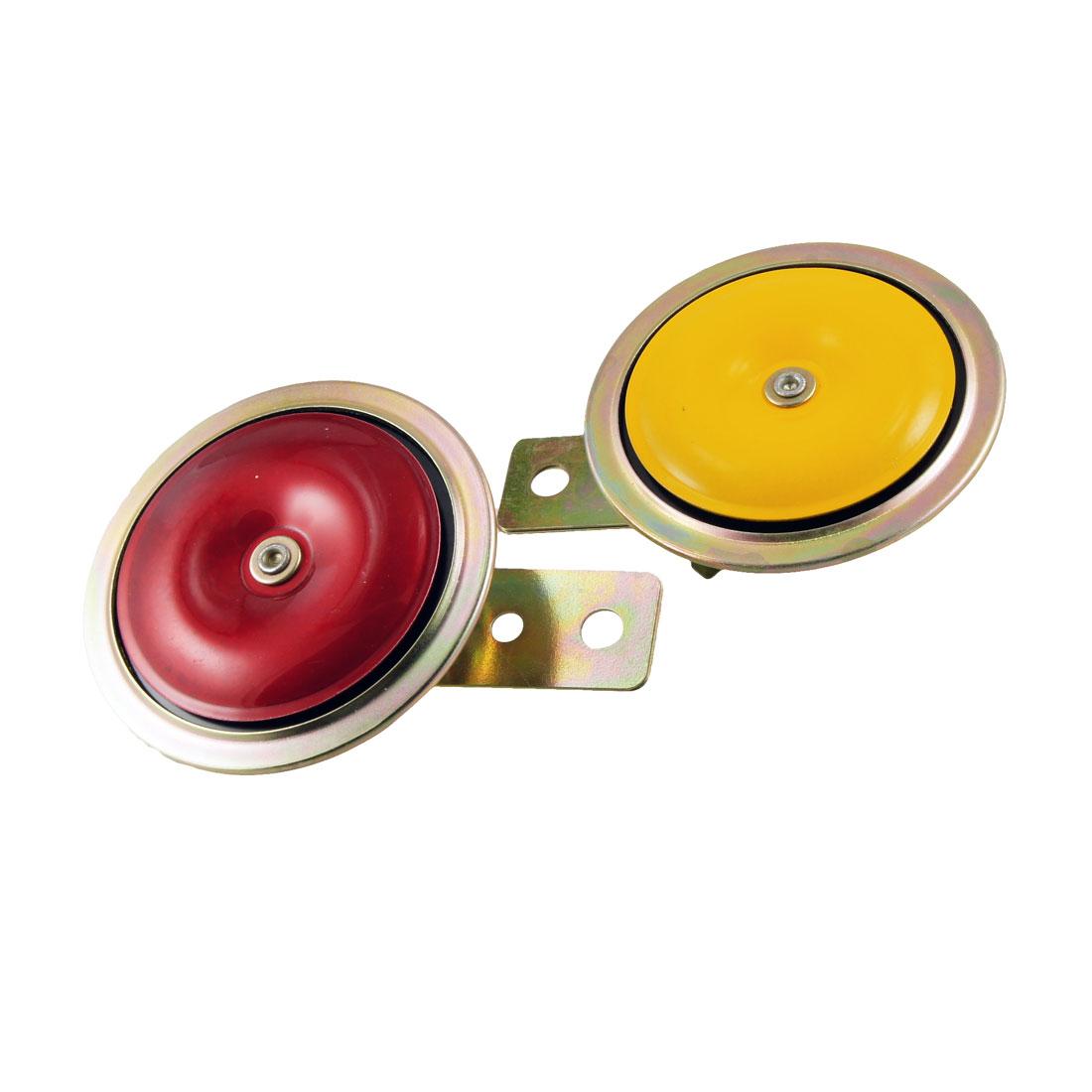 2 Pcs Red Yellow Metal DC 12V Sound Alarm Car Trumpet Speaker